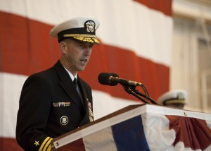111029-N-NY820-042 NORFOLK (Oct. 29, 2011) -Vice Adm. John Richardson, Commander, Submarine Forces, delivers remarks during the commissioning of the Virginia-class attack submarine USS California (SSN 781) at Naval Station Norfolk. California is the eighth Virginia-class submarine and will be homeported in Groton, Conn. (U.S. Navy photo by Mass Communication Specialist 2nd Class Eric C. Tretter/Released)
