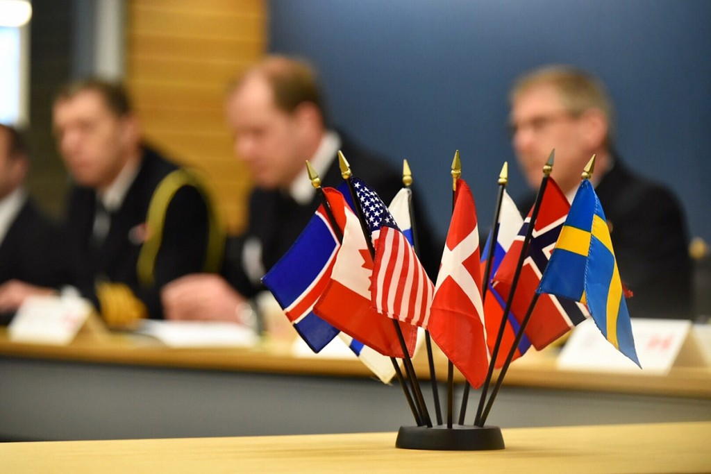 Flags of member nations are displayed during the Arctic Coast Guard Forum (ACGF), a cooperative initiative between nations with shared maritime interests in the Arctic, at U.S. Coast Guard Headquarters in Washington, March 25, 2015. The ACGF is an operationally-focused organization that strengthens maritime cooperation and coordination in the Arctic between member nations Canada, Denmark, Finland, Iceland, Norway, Sweden, the Russian Federation, and the United States. (U.S. Coast Guard photo by Petty Officer 2nd Class Patrick Kelley)