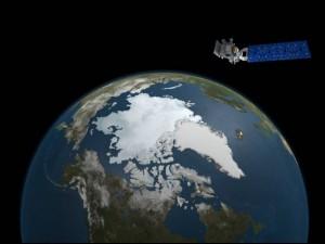 Ледовый покров в августе 2015 г. (снимок спутника – собственность Orbital, снимок Земли – собственность Студии визуализации научных данных NASA)