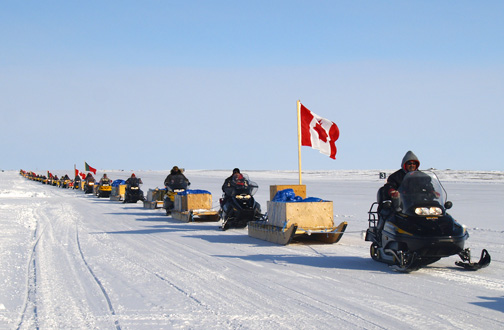 Canadian Rangers parade down the airstrip at Alert during Operation Nunalivut this past April. While the Rangers are typically how Inuit take part in enforcing Arctic sovereignty, Inuit Tapiriit Kanatami is miffed that Canada signed a military cooperation agreement with Denmark, without consulting ITK. (PHOTO BY CHRIS WINDEYER)