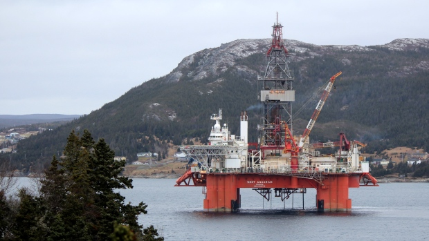 west-aquarius-oil-rig-in-bay-bulls-harbour-by-darlene-scott