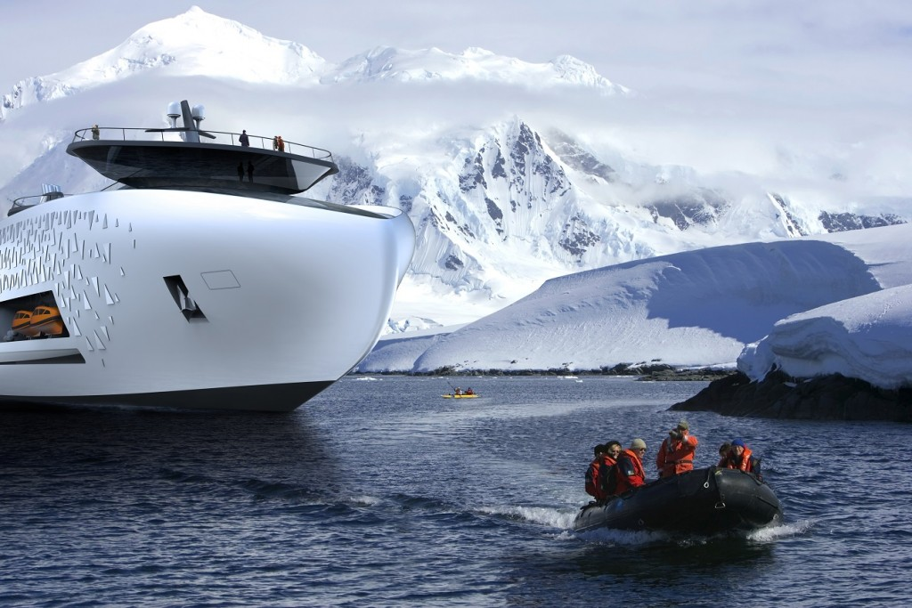 Antarctica. Tourists in kayaks and boats from the National Geographic Endeavour.