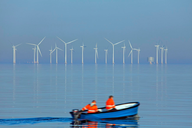 Wind turbines at sea of Lillgrund, Sweden's largest offshore wind farm south of the oeresund Bridge. (Photo by: Arterra/UIG via Getty Images)