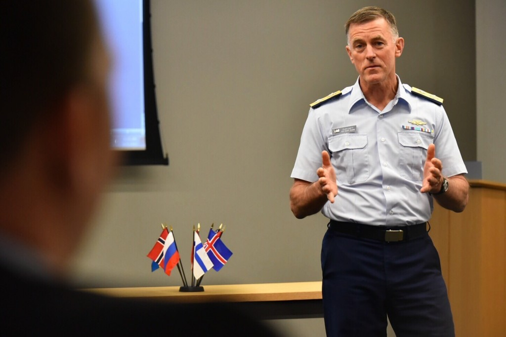 Coast Guard Commandant Adm. Paul Zukunft speaks during the Arctic Coast Guard Forum (ACGF), a cooperative initiative between nations with shared maritime interests in the Arctic, at U.S. Coast Guard Headquarters in Washington, March 25, 2015. The ACGF is an operationally-focused organization that strengthens maritime cooperation and coordination in the Arctic between member nations Canada, Denmark, Finland, Iceland, Norway, Sweden, the Russian Federation, and the United States. (U.S. Coast Guard photo by Petty Officer 2nd Class Patrick Kelley)