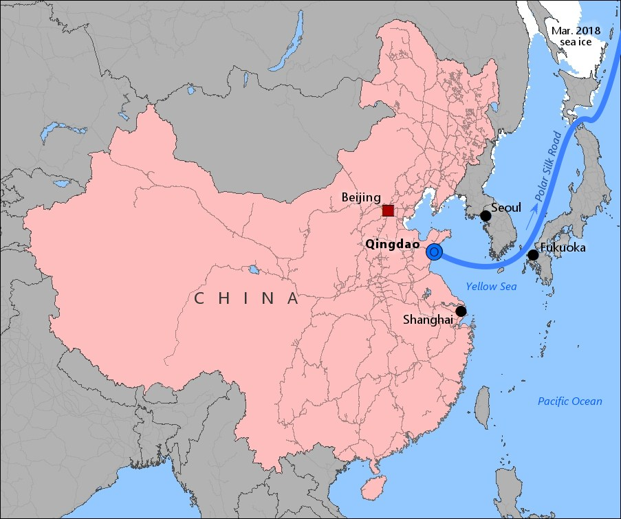 qingdao-china-map