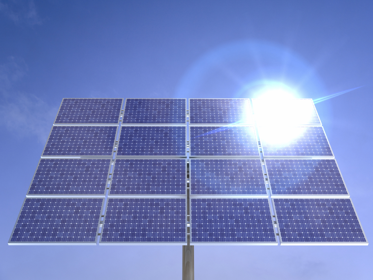 Solar panels reflecting the sun. 3D render with HDRI lighting and raytraced textures.