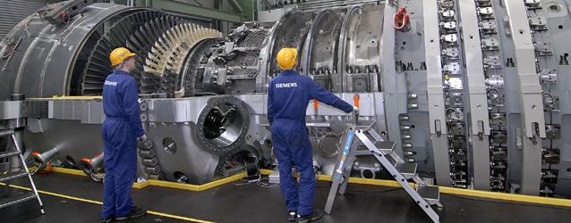Aktuell: Gro?te Gasturbine der Welt Die von Siemens Power Generation neu entwickelte Gasturbine SGT5-8000H im bayerischen Irsching bei Ingolstadt ist mit einer Leistung von 340 Megawatt (MW) die gro?te und leistungsstarkste Gasturbine der Welt. Ihre Leistung entspricht der von 13 Triebwerken eines Jumbo Jets oder reicht aus, um die Bevolkerung einer Stadt wie Hamburg mit Strom zu versorgen. Nach der Testphase wird diese Anlage zu einem hocheffizienten Gas- und Dampfturbinen (GuD)-Kraftwerk mit einer Leistung von ca. 530 MW und einem Wirkungsgrad von uber 60 Prozent erweitert. Die E.ON Kraftwerke GmbH wird die Anlage nach erfolgreichem Probelauf ubernehmen und in den kommerziellen Betrieb uberfuhren.