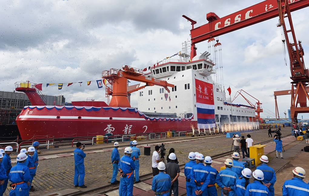 epa07012331 A view of the 122.5-metre-long polar research vessel and icebreaker, the Xuelong 2, or 'Snow Dragon,' during its launch day at Jiangnan Shipyard in Shanghai, China, 10 September 2018 (issued 11 September 2018). The vessel is China's first domestically built two-directional icebreaking, a polar research ship capable of 60-day expeditions with 90 crew members and researchers on board.  EPA-EFE/XI LI CHINA OUT