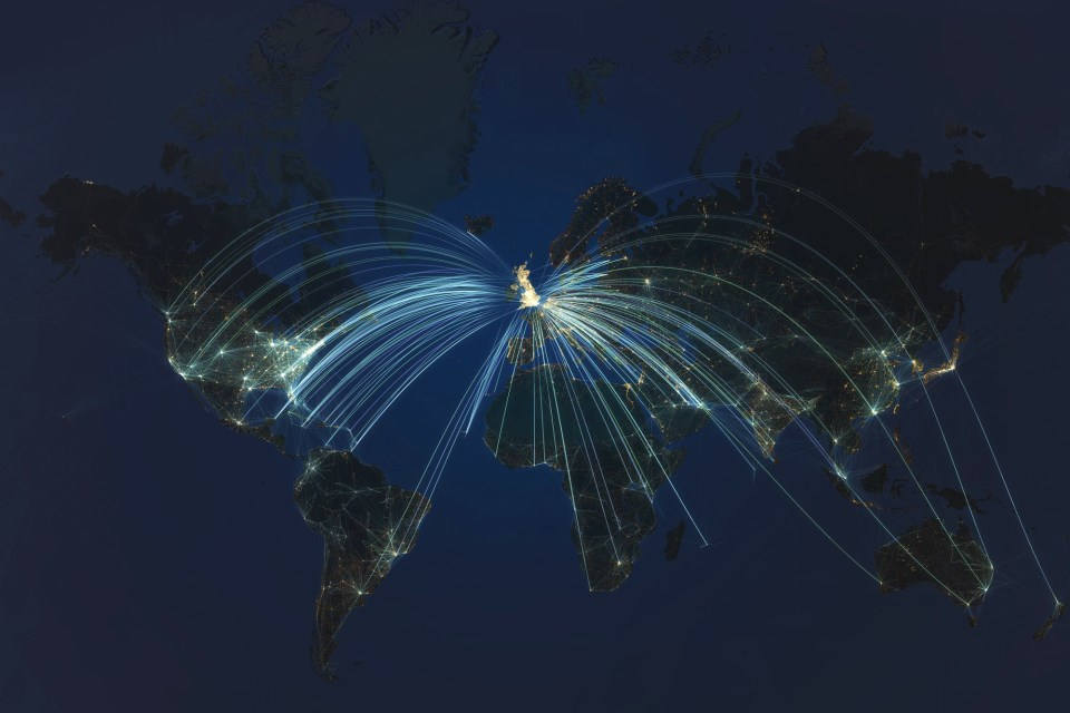 Flight Paths - world - A3 size