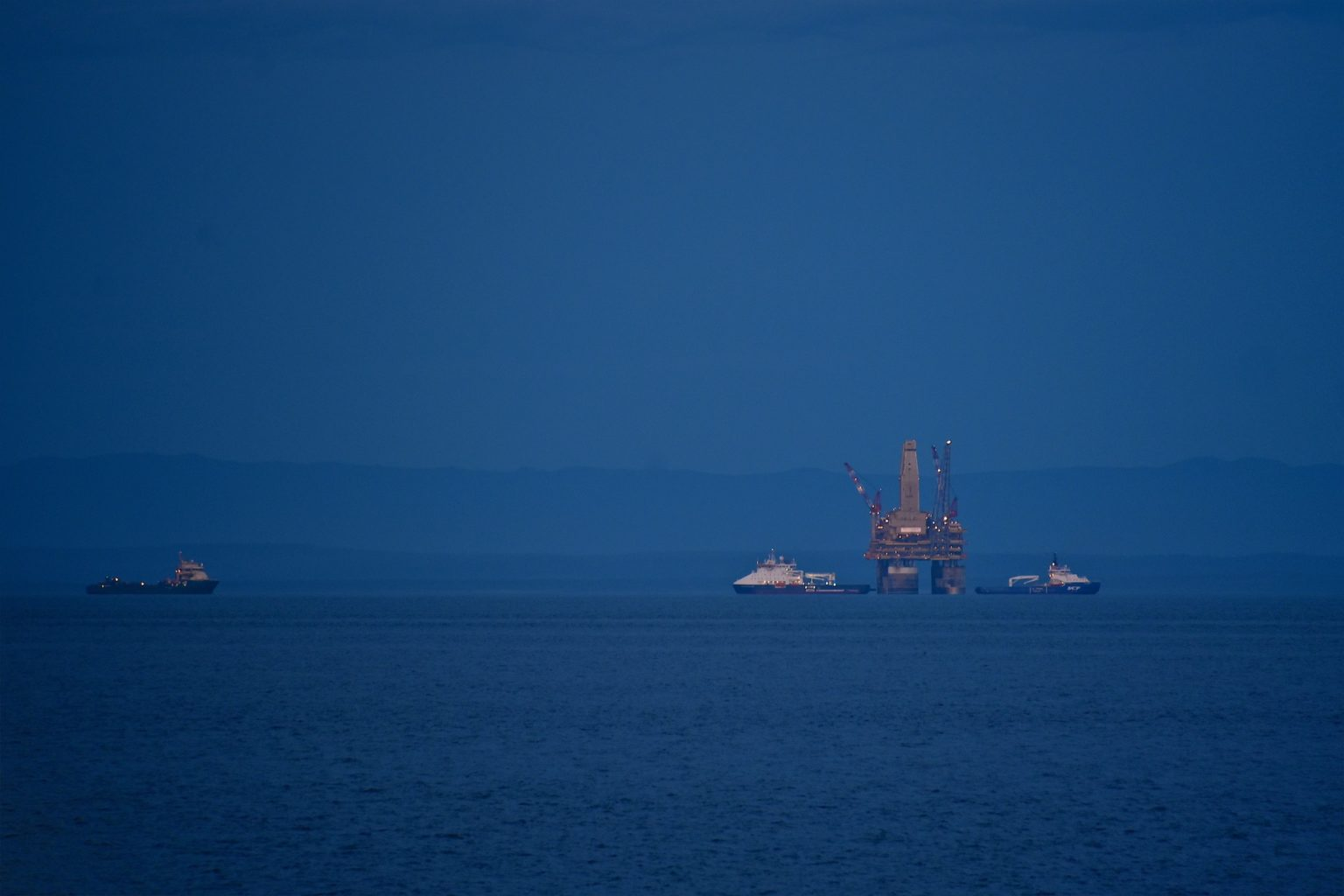 Sakhalin island. Drilling platform at sea. Fall. Around the icy water of the Sea of Okhotsk.